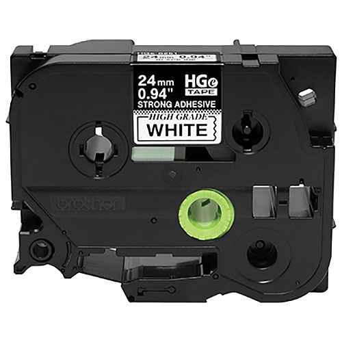 Brother HGES2515PK Black on White Extra-Strength Adhesive Label Tape