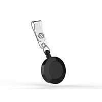 W Box 0E-BHPULL1 Badge Retractors with Strap, ABS, Black, 25-Pack