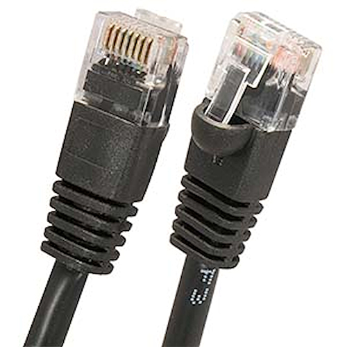 Wbox 1Ft. Cat5 Cable, Black - 6 Pack