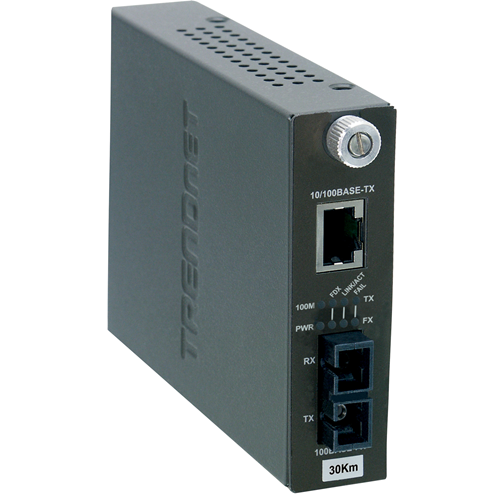 Intelligent 10/100Base-TX to 100Base-FX Single Mode Fiber Converter(30KM)