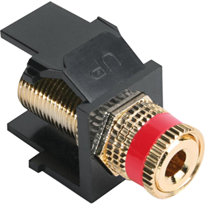 Leviton QuickPort Snap-In Bulkhead Binding Post Connector with Red Stripe