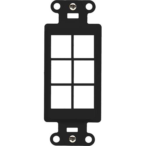 Legrand-On-Q 6-Port Decorator Outlet Strap, Black