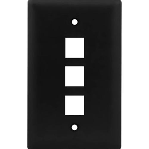 Legrand-On-Q 1-Gang, 3-Port Wall Plate, Black
