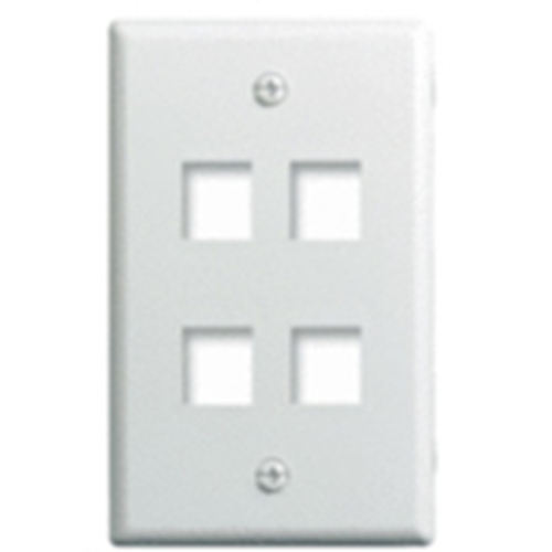 """Single Gang Wall Plate, 4-Port, Wht"""
