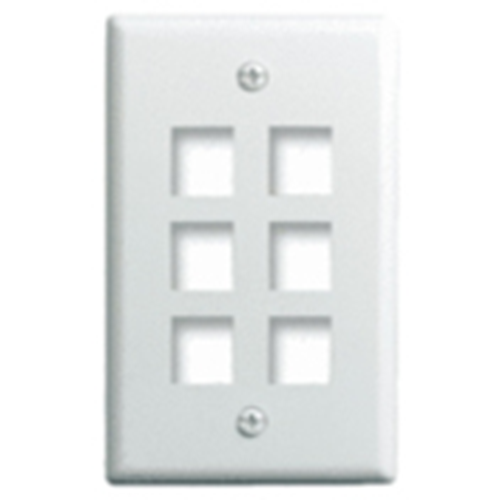 """Single Gang Wall Plate, 6-Port, Wht"""