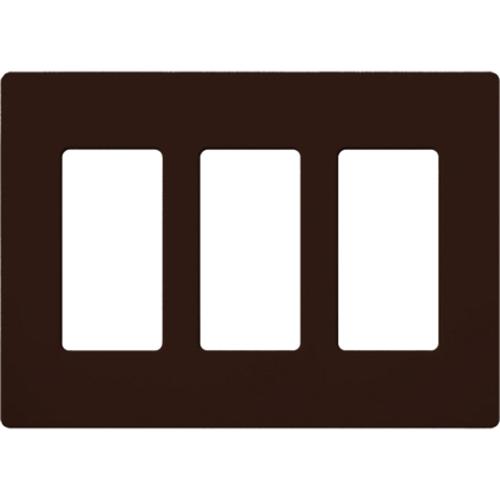 3-Gang Gloss Decora Faceplate Brown