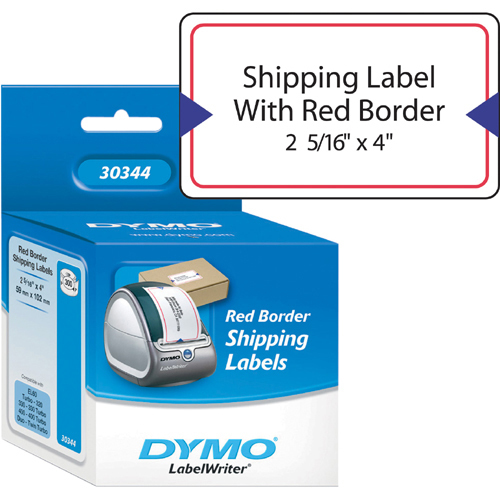 White Shipping Label w/Red Border