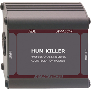 "Radio Design Labs Hum Killer""""; Transformer isolated XLR male to XLR female with ground isolation"""