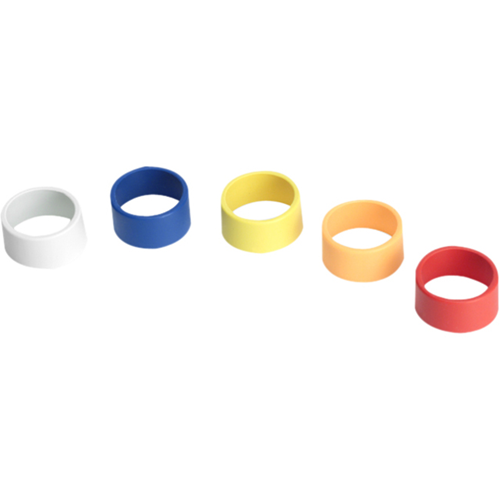 Multi-colored ID rings for Shure PG, PGX, SLX, ULX, UHF-R, T, UT, LX, and UC wireless handheld microphones.