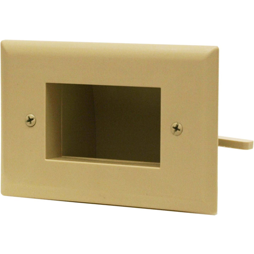 DATACOMM ELECTRONICS 45-0008-IV Easy-Mount Recessed Low-Voltage Cable Plate (Ivo