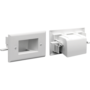 DATACOMM ELECTRONICS 45-0008-WH Easy-Mount Recessed Low-Voltage Cable Plate (Whi