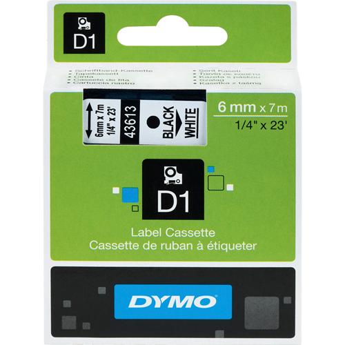"""DYMO D1 Electronic Tape, 1/4""""x23' Size, Black/White"""