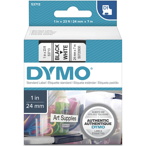 "DYMO D1 Electronic Tape, 1""x23' Size, Black/White"