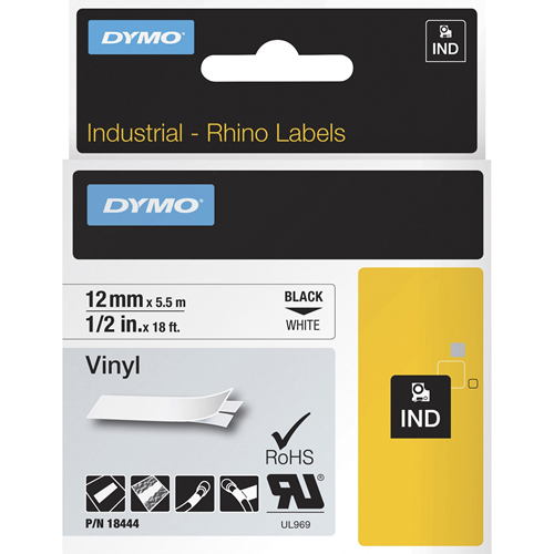 "Label, Vinyl, Industrial, 1/2""x18', White"