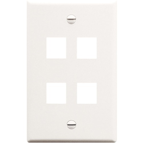 4 PORT SGL GANG WALLPLATE WH