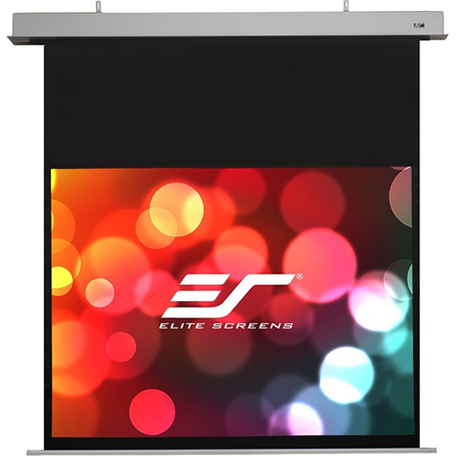 """IHome112HW2-E16 EVANESCE In ceiling Electric Projection Screen with IR remote and RF remote, 3 way wall switch , In wall switch module and 12v trigger. Viewing dimensions are 54.9"""" x 97.6"""" (h x w) and it is a 112"""" diagonal, 16:9 formatted screen. The m"""