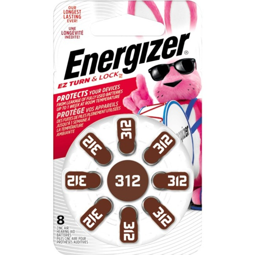 Energizer EZ Turn & Lock Size 312, 8-Pack, Brown