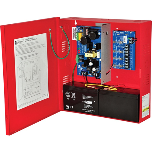 Altronix 4 Fused Outputs Power Supply/Charger. 12/24VDC @ 6A. Red Enclosure & Transformer