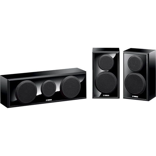 Includes the NS-B150 2-way acoustic suspension bookshelf speakers and the NS-C150 2-way acoustic suspension center speaker in a piano black finish.