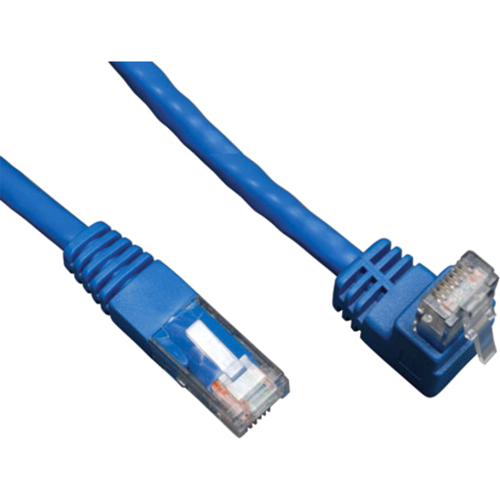 Tripp Lite 3ft Cat6 Gigabit Molded Patch Cable RJ45 Right Angle Up to Straight M/M Blue 3'