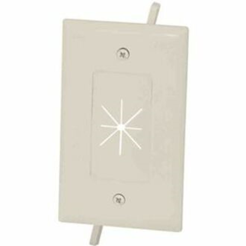 DataComm Cable Plate with Flexible Opening 1-Gang Lite Almond