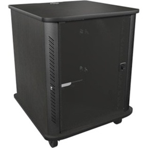 16 Space Reference Series Rack 28in. Wide 28in. Deep 16 Rack Space Glass Door 4in. Casters Black Cascade Finish