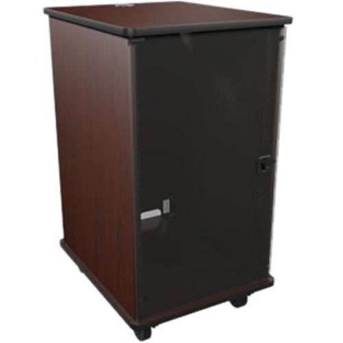 MFR Series Mobile Furniture Rack 20 Space 27in. D Melamine Plexi Door 4in. Casters Grained Dark Cherry