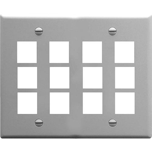 ICC Faceplate, Flat, 2-Gang, 12-Port, Gray