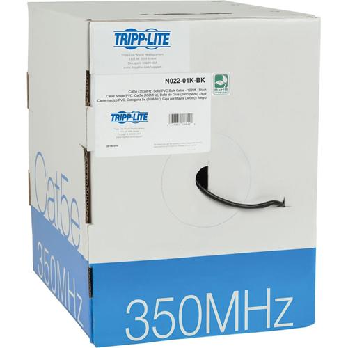 Tripp Lite 1000ft Cat5 / Cat5e Bulk Cable Solid CMR PVC 350MHz Black 1000'