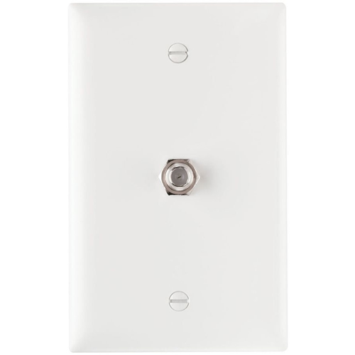 1 GHZ COAX F CONNECTOR WALL PLATE, WHITE