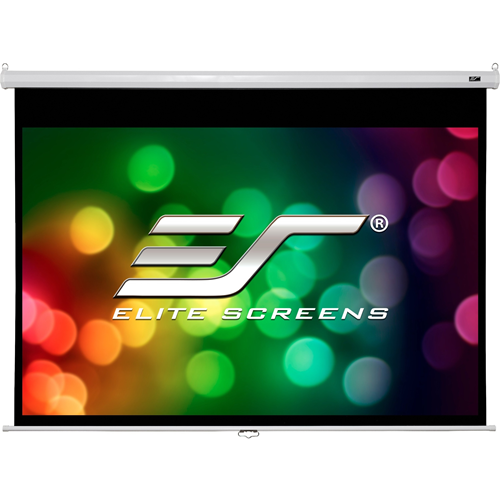 "ELITE MANUAL100"" diagonal, 16:9 manual pull down screen with the slow release mechanism? and the viewing dimensions are 49"" x 87"" = (viewing height x viewing width) and the housing is white in color? and it mounts flush to the wall as a standard."