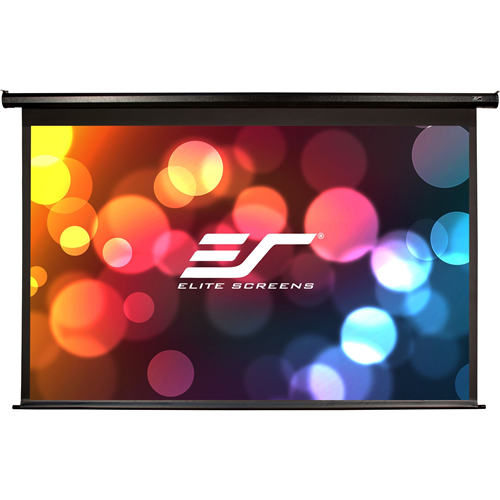 """150"""" diagonal, 16:9 SPECTRUM electric screen with the MAX WHITE screen material and black colored housing that mounts flush to the wall as a standard. Item ships standard with an IR remote, low voltage 3 way wall switch and 12v trigger cable"""