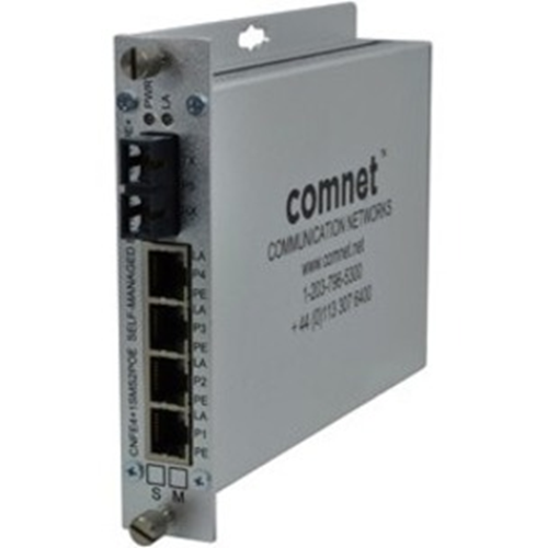 ComNet 10/100 4TX+1FX Ethernet Self-managed Switch with Power over Ethernet (PoE+)