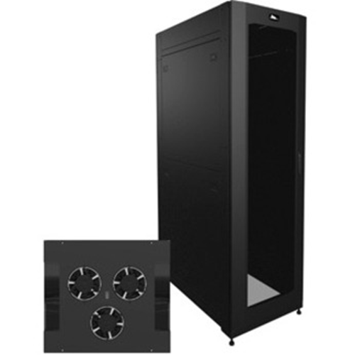 24in. Width 42 Space (73 1/2in. ) Deep Configured Hybrid Top Active Cooling Security Network Enclosure 2 Pair Tapped 10/32 Rail Black Finish