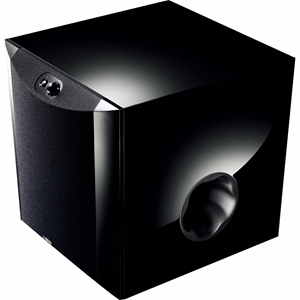 """With a gentle curve in the front and piano black finish, this 250 W, 10"""" cone woofer with square wire voice coil subwoofer offers clear and tight bass through Yamaha's new technology, Twisted Flare Port. Features PWM digital drive high efficiency amplifie"""