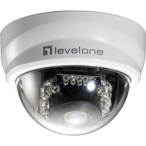 LevelOne H.264 2-Mega Pixel FCS-4101.LevelOne 2-Mega Pixel PoE P/T IP Mini Dome Network Camera (Day/Night/Indoor), TAA Compliant