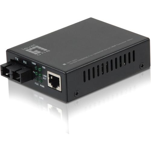 LevelOne GVT-2001 10/100/1000BASE-T to 1000BASE-SX MMF SC Mini Media Converter, 550m