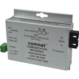 ComNet Industrially Hardened 100Mbps Media Converter with 48V POE, Mini