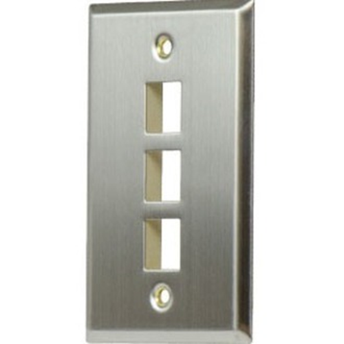 On-Q/Legrand 1-Gang, 3-Port Wall Plate, Stainless Steel