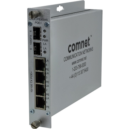 ComNet 10/100/1000 Mbps Drop/Insert/Repeat Gigabit Uplink Switch with Optional PoE+