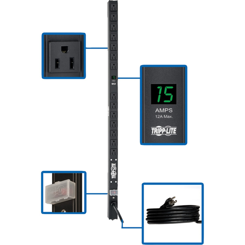 Tripp Lite PDU Metered 120V 15A 5-15R 14 Outlet 5-15P 36 Inch Height 0URM