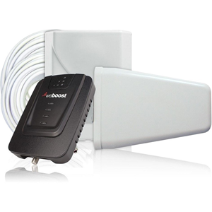 Dynamic Gain Indoor Wireless Signal Booster Kit. Connect 4G (Kit includes: Booster, 30' White RG6 Cables (qty 2), 5V/2.5A AC/DC Power Supply, Wall Panel Antenna, Wide Band Directional Antenna)