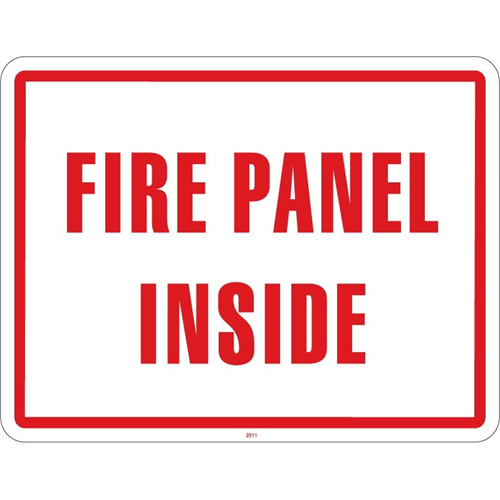 SIGN ONLY 'FIRE PANEL INSIDE'-11'X 8.5' WHT ON RED