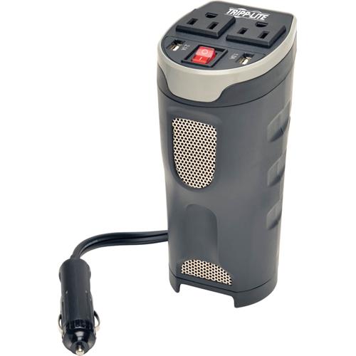 Tripp Lite Car Inverter Cup Holder 200W 12V DC to 120V AC 2 USB Charging Ports 2 Outlets