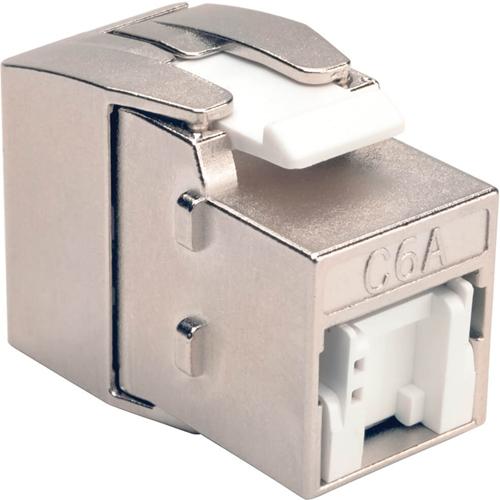 Tripp Lite Shielded Cat6a Keystone Jack with Dust Shutter, 180-Degree , Toolless
