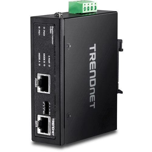TRENDnet Hardened Industrial 60W Gigabit PoE+ Injector, DIN-Rail Mount, IP30 Rated Housing, Includes DIN-rail & Wall Mounts, TI-IG60