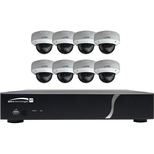 Speco 8 Channel HD-TVI 1080p DVR, 2TB 8 HD-TVI 1080p Outdoor IR Dome Cameras