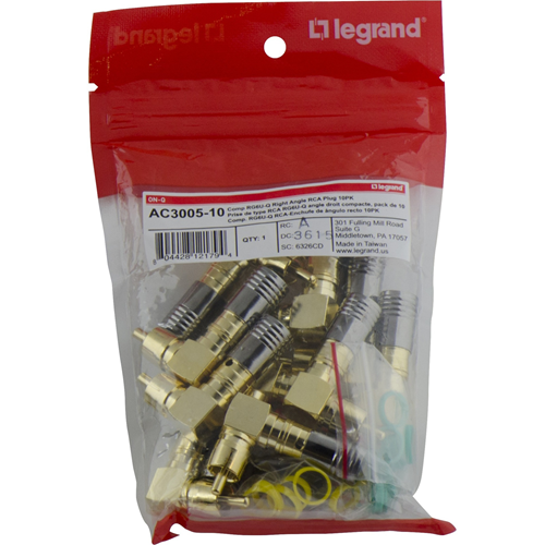 Legrand-On-Q Gold CompressionStyle Right Angle Male RCA Connector, 10Pack