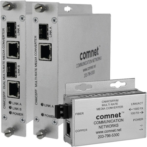 ComNet ComFit Dual 10/100/1000Mbps Ethernet Media Converter with IEEE 802.3at 30W PoE+