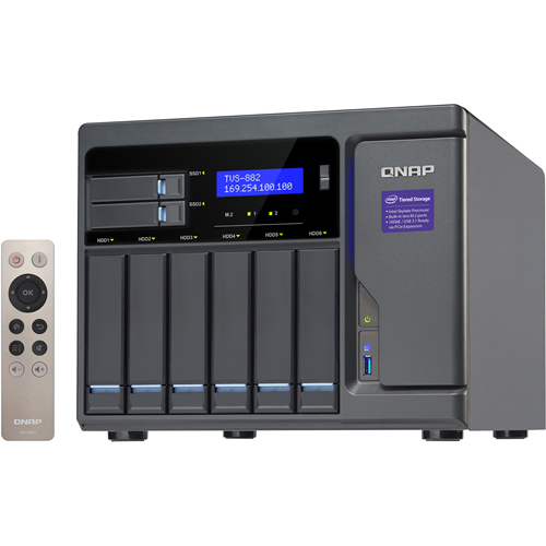 QNAP High Performance 8 bay (6+2) NAS/iSCSI IP-SAN. Intel Skylake Core i5 3.6GHz Quad Core, 16GB RAM, 10G-ready, 450W power supply